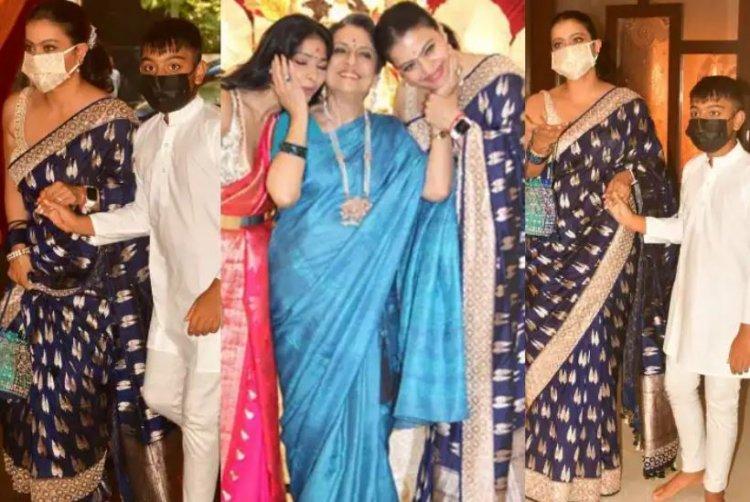பிரம்மாண்ட துர்கா பந்தலில் நடிகை கஜோல் சாமி தரிசனம்.!!